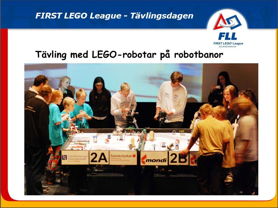 Tävling med LEGO-robotar på robotbanor FIRST LEGO League - Tävlingsdagen