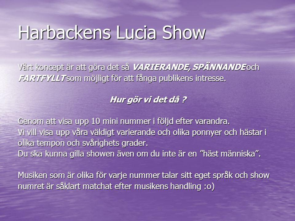 Harbackens Lucia Show Vårt koncept är att göra det så VARIERANDE, SPÄNNANDE och FARTFYLLT som möjligt för att fånga publikens intresse. Hur gör vi det