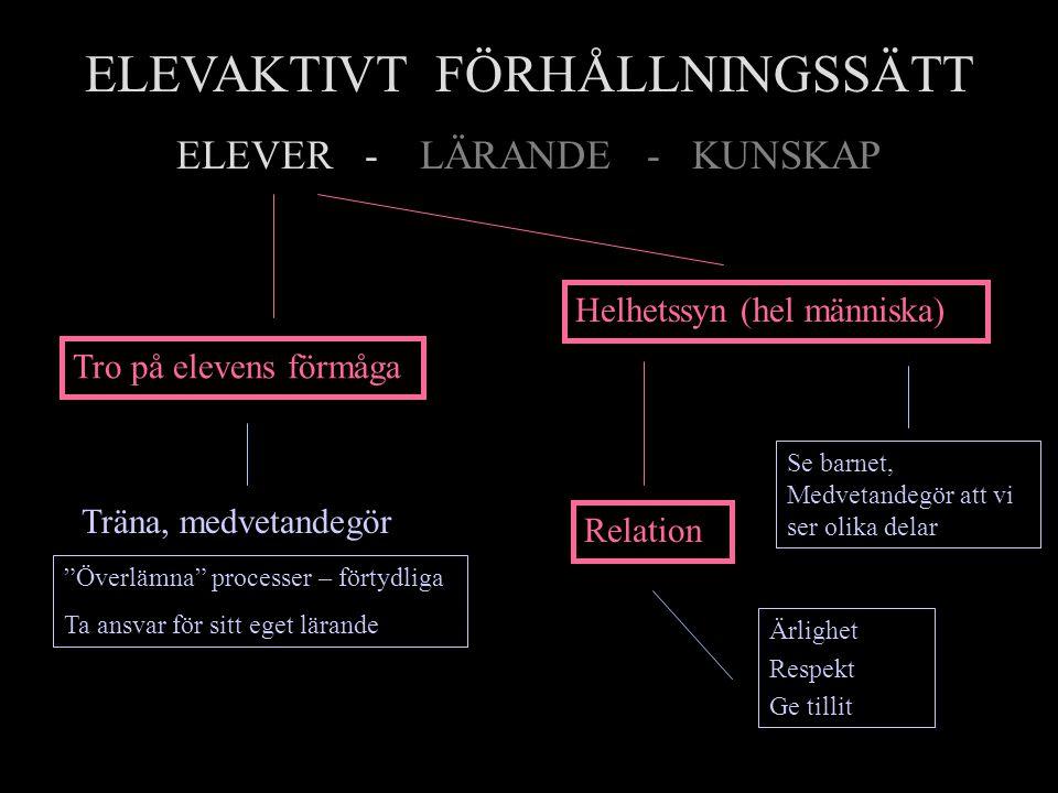 """ELEVAKTIVT FÖRHÅLLNINGSSÄTT ELEVER - LÄRANDE - KUNSKAP Tro på elevens förmåga """"Överlämna"""" processer – förtydliga Ta ansvar för sitt eget lärande Träna"""