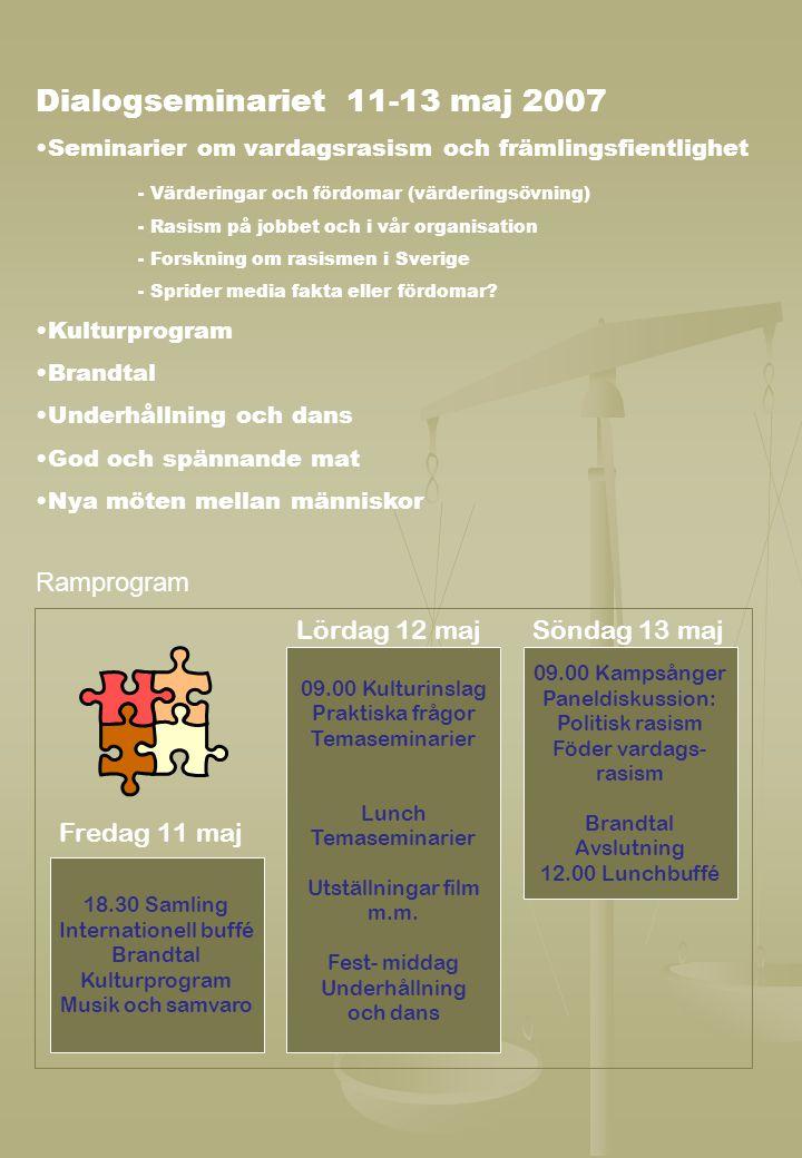 Ramprogram 18.30 Samling Internationell buffé Brandtal Kulturprogram Musik och samvaro 09.00 Kulturinslag Praktiska frågor Temaseminarier Lunch Temase