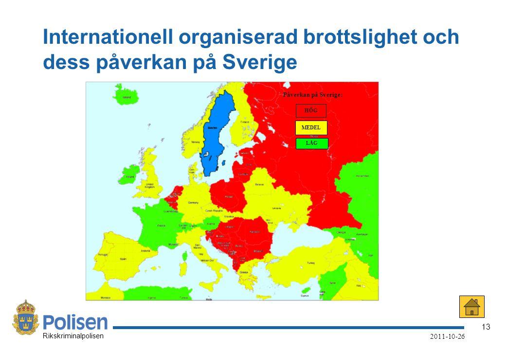 13 Rikskriminalpolisen 2011-10-26 Internationell organiserad brottslighet och dess påverkan på Sverige HÖG MEDEL LÅG Påverkan på Sverige: