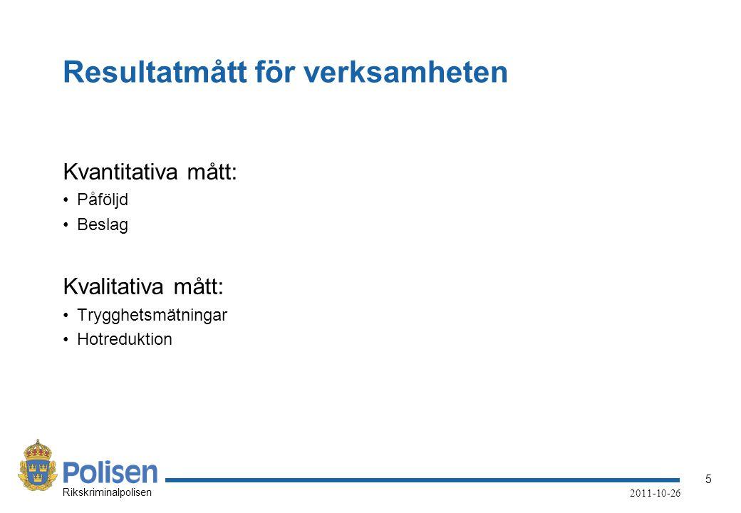 5 Rikskriminalpolisen 2011-10-26 Resultatmått för verksamheten Kvantitativa mått: Påföljd Beslag Kvalitativa mått: Trygghetsmätningar Hotreduktion