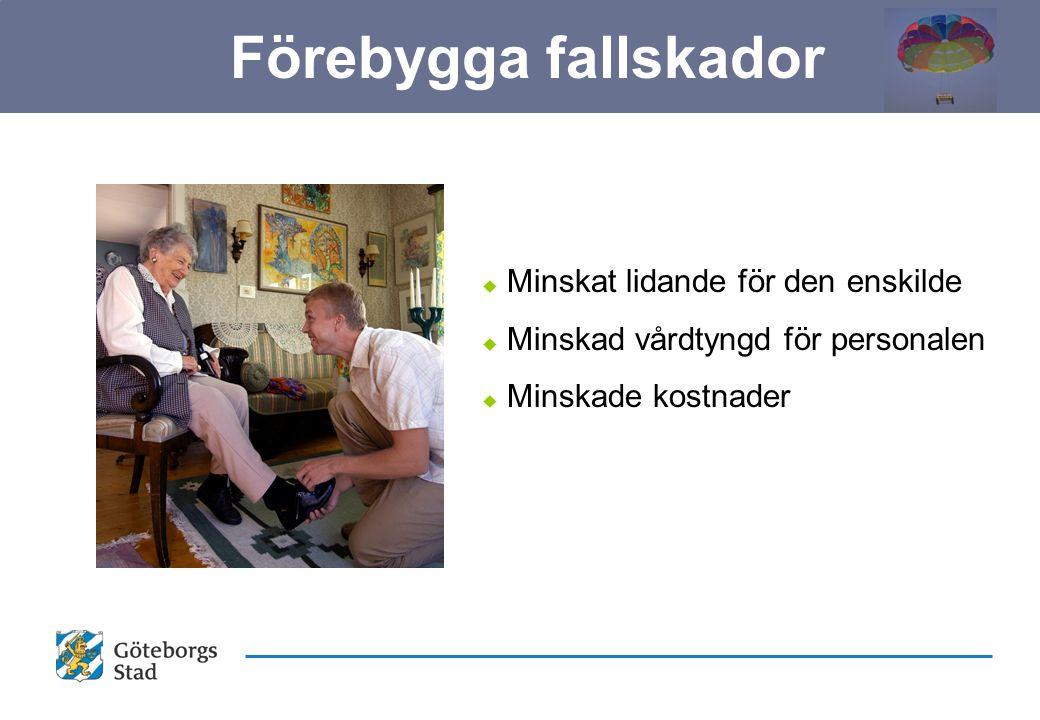u Minskat lidande för den enskilde u Minskad vårdtyngd för personalen u Minskade kostnader Förebygga fallskador