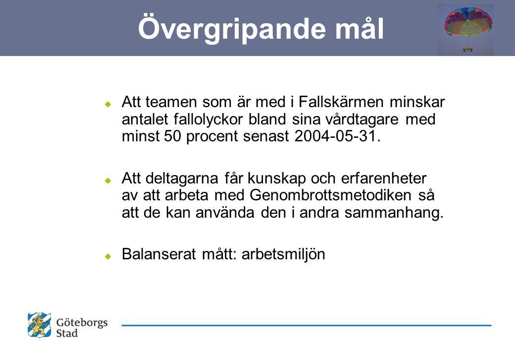 u Att teamen som är med i Fallskärmen minskar antalet fallolyckor bland sina vårdtagare med minst 50 procent senast 2004-05-31.