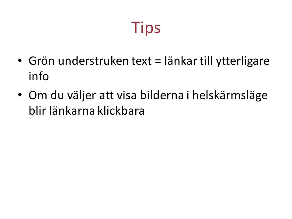 Tips Grön understruken text = länkar till ytterligare info Om du väljer att visa bilderna i helskärmsläge blir länkarna klickbara