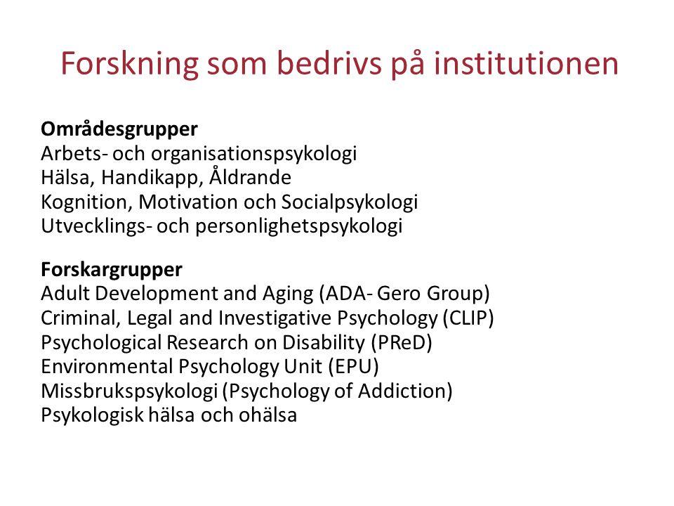 Forskning som bedrivs på institutionen Områdesgrupper Arbets- och organisationspsykologi Hälsa, Handikapp, Åldrande Kognition, Motivation och Socialps