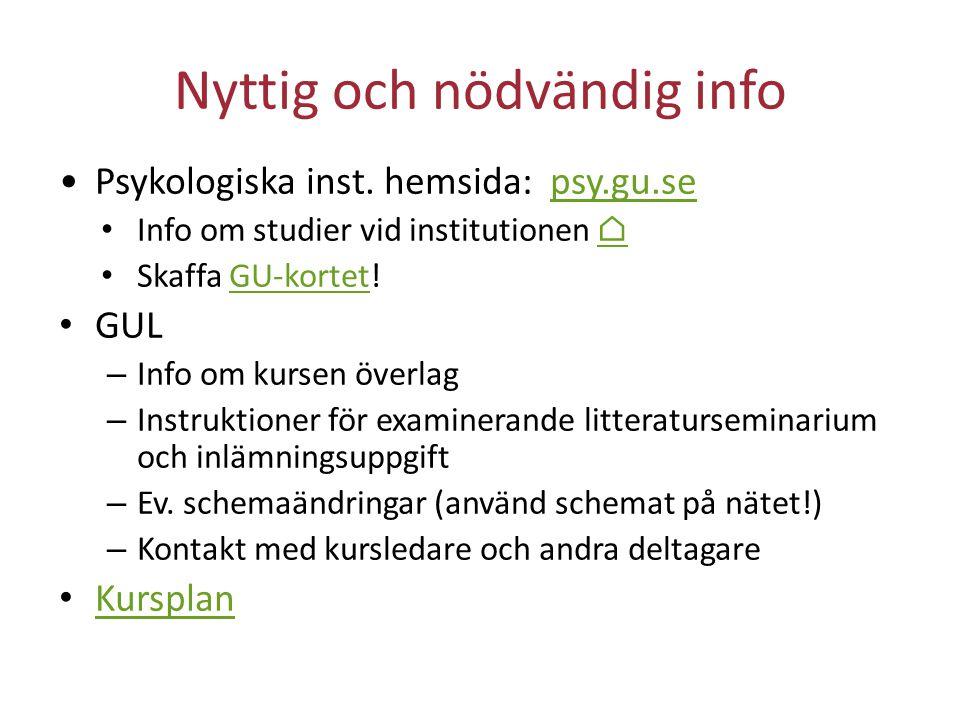 Nyttig och nödvändig info Psykologiska inst. hemsida: psy.gu.sepsy.gu.se Info om studier vid institutionen ⌂⌂ Skaffa GU-kortet!GU-kortet GUL – Info om
