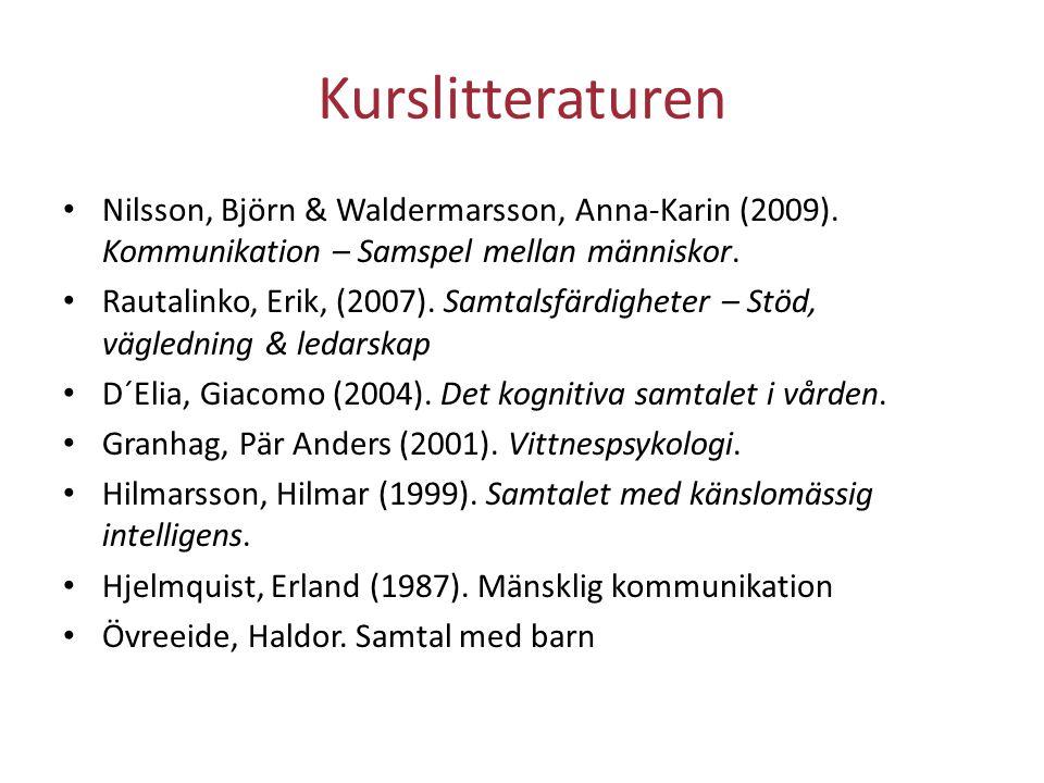 Kurslitteraturen Nilsson, Björn & Waldermarsson, Anna‐Karin (2009). Kommunikation – Samspel mellan människor. Rautalinko, Erik, (2007). Samtalsfärdigh