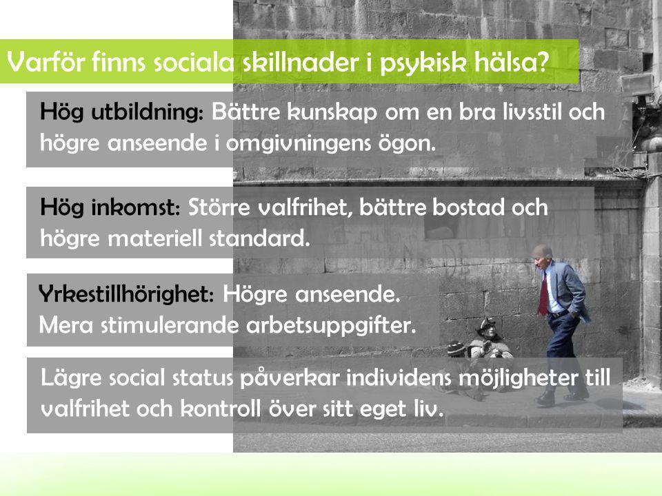 Varför finns sociala skillnader i psykisk hälsa? Hög utbildning: Bättre kunskap om en bra livsstil och högre anseende i omgivningens ögon. Hög inkomst