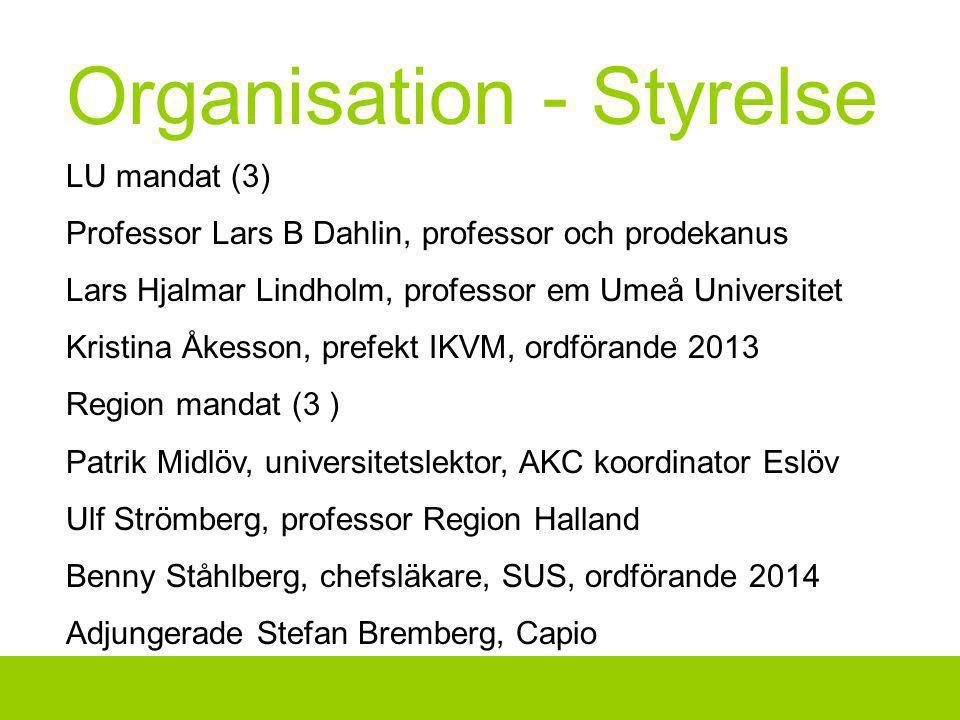 Organisation - Styrelse LU mandat (3) Professor Lars B Dahlin, professor och prodekanus Lars Hjalmar Lindholm, professor em Umeå Universitet Kristina