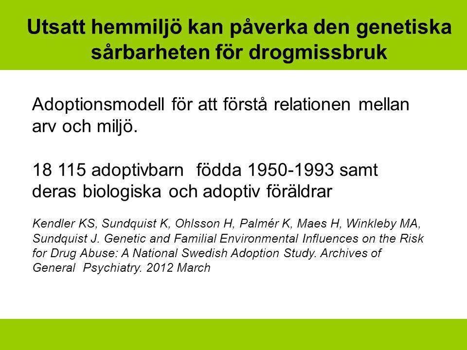 Utsatt hemmiljö kan påverka den genetiska sårbarheten för drogmissbruk Adoptionsmodell för att förstå relationen mellan arv och miljö. 18 115 adoptivb
