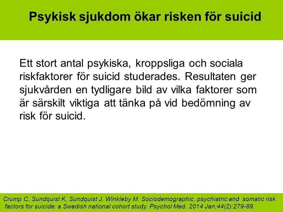 Psykisk sjukdom ökar risken för suicid Ett stort antal psykiska, kroppsliga och sociala riskfaktorer för suicid studerades. Resultaten ger sjukvården