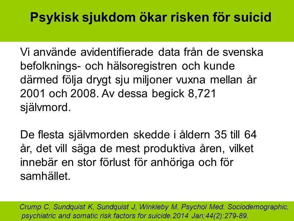 Psykisk sjukdom ökar risken för suicid Vi använde avidentifierade data från de svenska befolknings- och hälsoregistren och kunde därmed följa drygt sju miljoner vuxna mellan år 2001 och 2008.