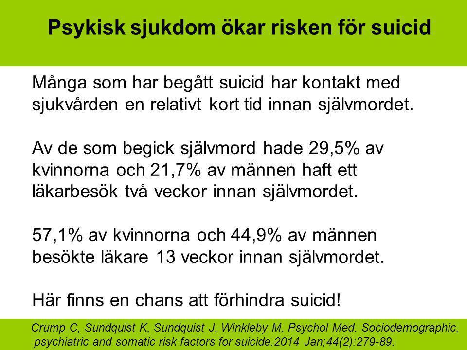 Psykisk sjukdom ökar risken för suicid Många som har begått suicid har kontakt med sjukvården en relativt kort tid innan självmordet. Av de som begick