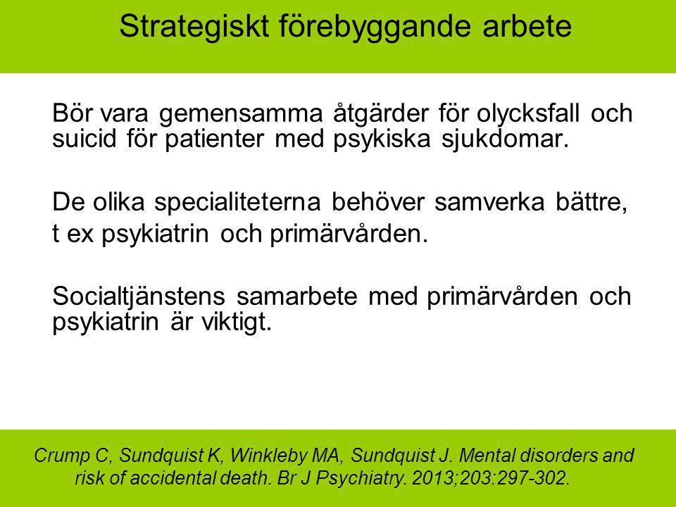 Strategiskt förebyggande arbete Bör vara gemensamma åtgärder för olycksfall och suicid för patienter med psykiska sjukdomar. De olika specialiteterna