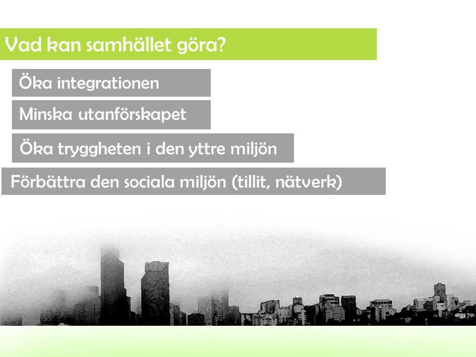Vad kan samhället göra? Öka integrationen Öka tryggheten i den yttre miljön Minska utanförskapet Förbättra den sociala miljön (tillit, nätverk)