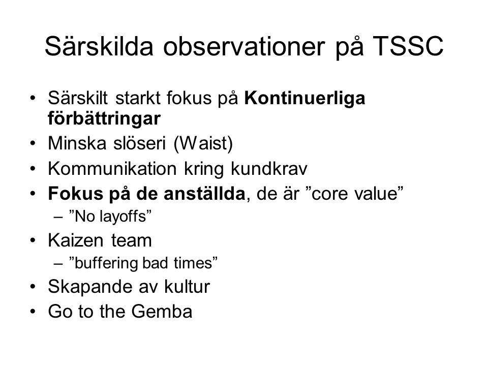 Särskilda observationer på TSSC Särskilt starkt fokus på Kontinuerliga förbättringar Minska slöseri (Waist) Kommunikation kring kundkrav Fokus på de anställda, de är core value – No layoffs Kaizen team – buffering bad times Skapande av kultur Go to the Gemba
