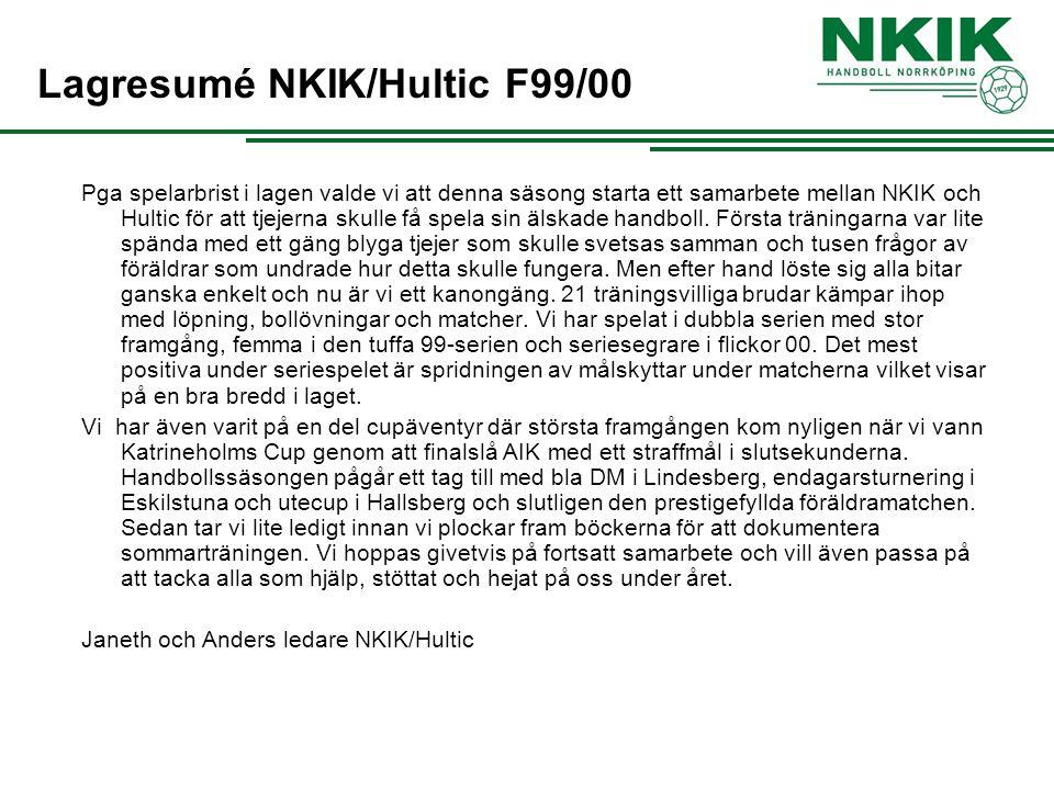 Pga spelarbrist i lagen valde vi att denna säsong starta ett samarbete mellan NKIK och Hultic för att tjejerna skulle få spela sin älskade handboll. F