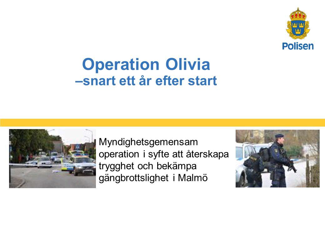 1 Operation Olivia –snart ett år efter start Myndighetsgemensam operation i syfte att återskapa trygghet och bekämpa gängbrottslighet i Malmö