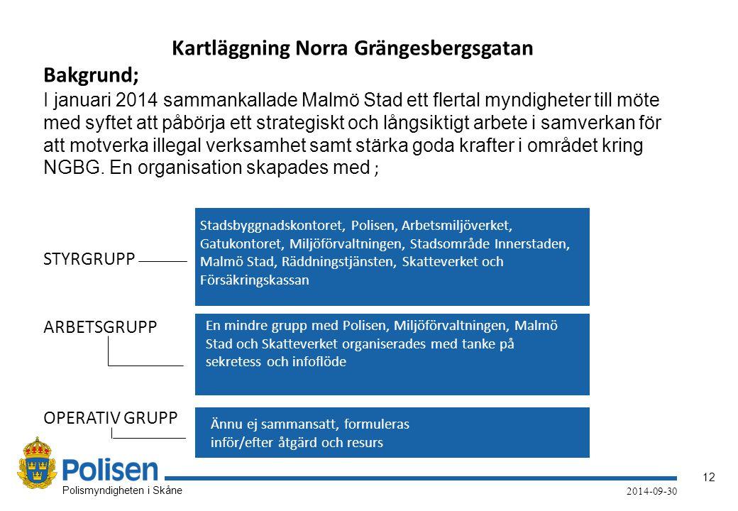 12 Polismyndigheten i Skåne 2014-09-30 Kartläggning Norra Grängesbergsgatan Bakgrund; I januari 2014 sammankallade Malmö Stad ett flertal myndigheter till möte med syftet att påbörja ett strategiskt och långsiktigt arbete i samverkan för att motverka illegal verksamhet samt stärka goda krafter i området kring NGBG.