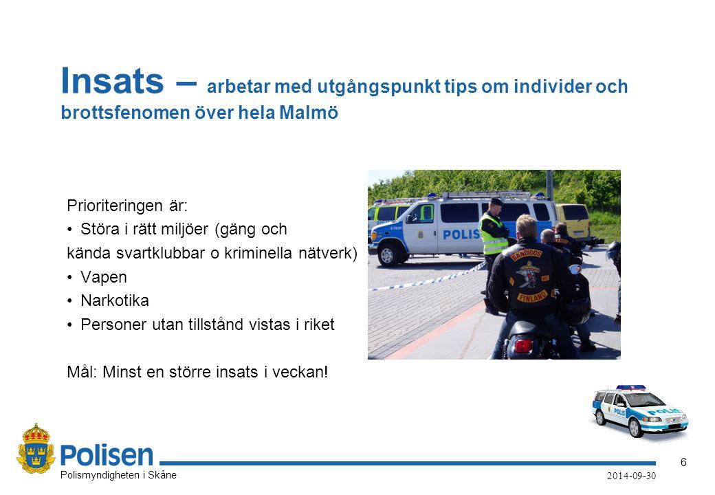 6 Polismyndigheten i Skåne 2014-09-30 Insats – arbetar med utgångspunkt tips om individer och brottsfenomen över hela Malmö Prioriteringen är: Störa i