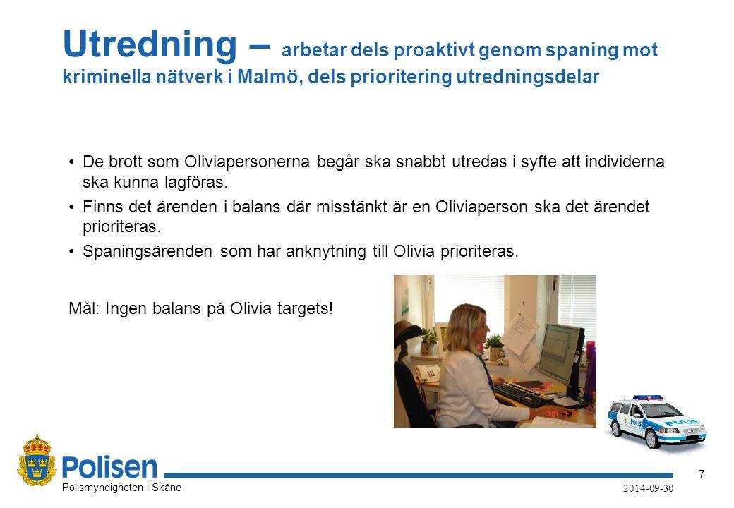 7 Polismyndigheten i Skåne 2014-09-30 Utredning – arbetar dels proaktivt genom spaning mot kriminella nätverk i Malmö, dels prioritering utredningsdel