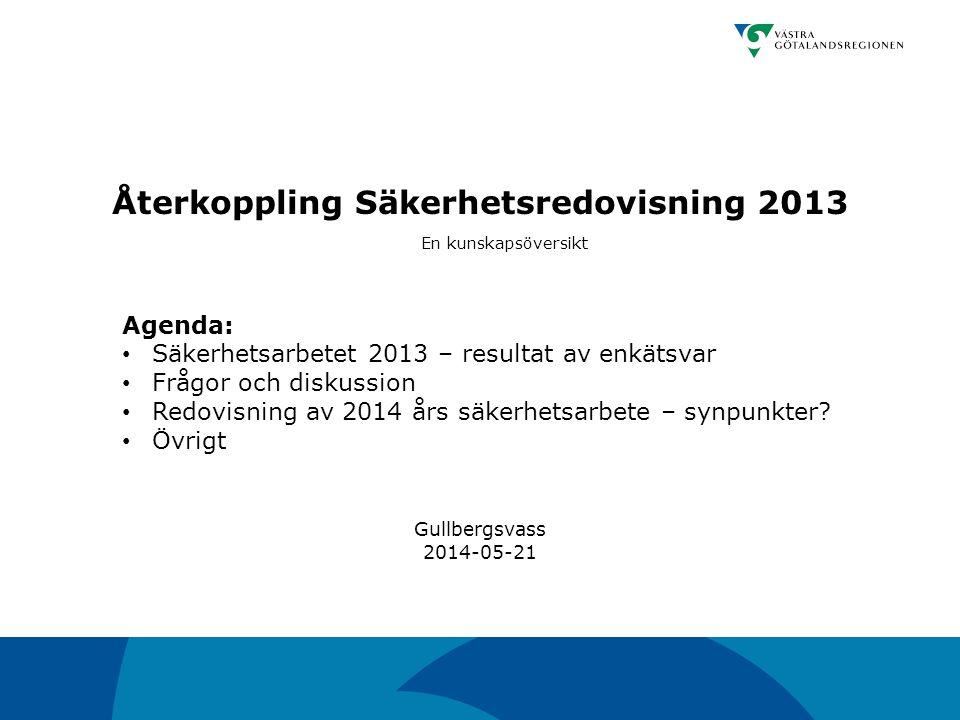 Återkoppling Säkerhetsredovisning 2013 En kunskapsöversikt Agenda: Säkerhetsarbetet 2013 – resultat av enkätsvar Frågor och diskussion Redovisning av