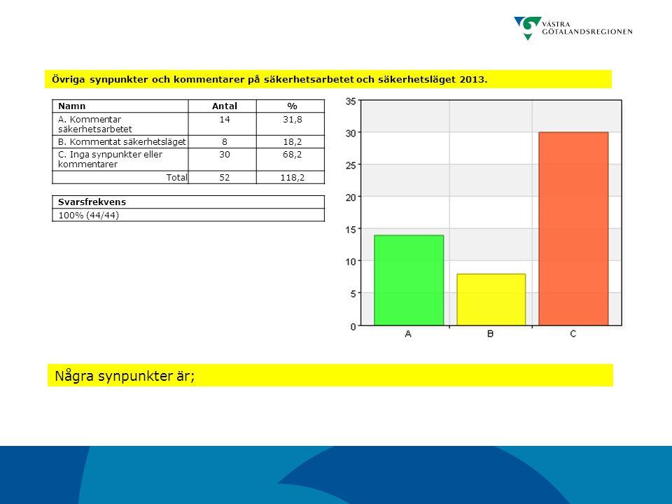 Övriga synpunkter och kommentarer på säkerhetsarbetet och säkerhetsläget 2013. NamnAntal% A. Kommentar säkerhetsarbetet 1431,8 B. Kommentat säkerhetsl