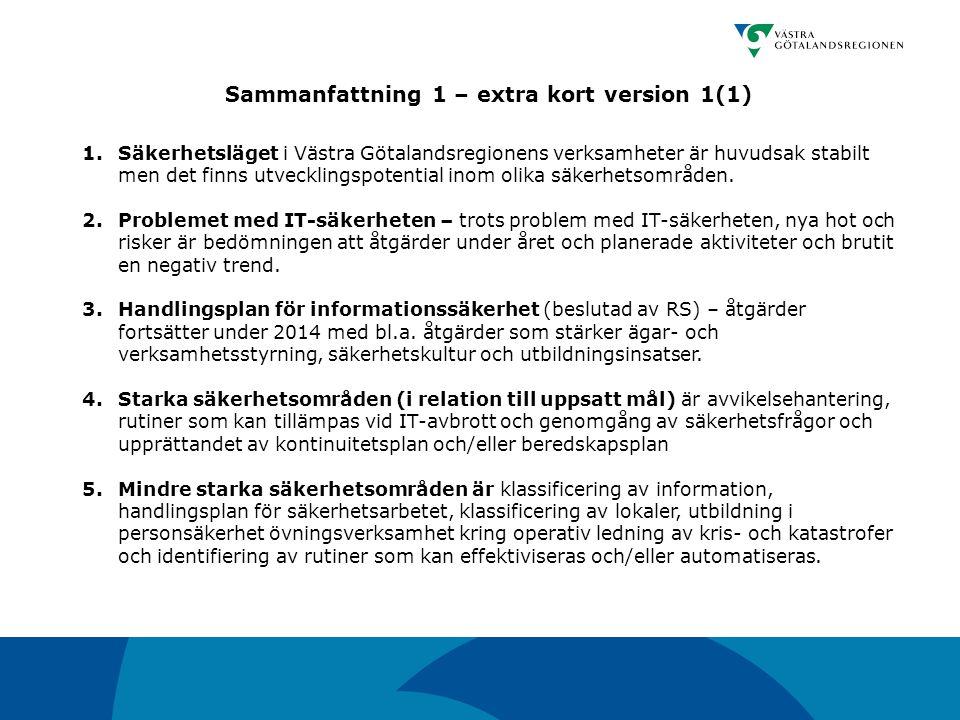 1.Säkerhetsläget i Västra Götalandsregionens verksamheter är huvudsak stabilt men det finns utvecklingspotential inom olika säkerhetsområden. 2.Proble