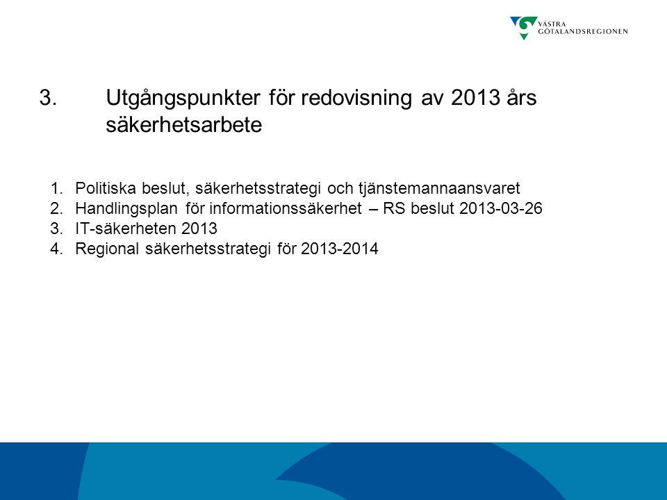 3. Utgångspunkter för redovisning av 2013 års säkerhetsarbete 1.Politiska beslut, säkerhetsstrategi och tjänstemannaansvaret 2.Handlingsplan för infor