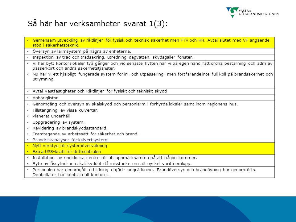 Gemensam utveckling av riktlinjer för fysisk och teknisk säkerhet men FTV och HH. Avtal slutet med VF angående stöd i säkerhetsteknik. Översyn av larm