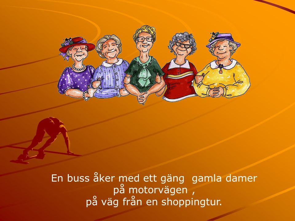 En buss åker med ett gäng gamla damer på motorvägen, på väg från en shoppingtur.