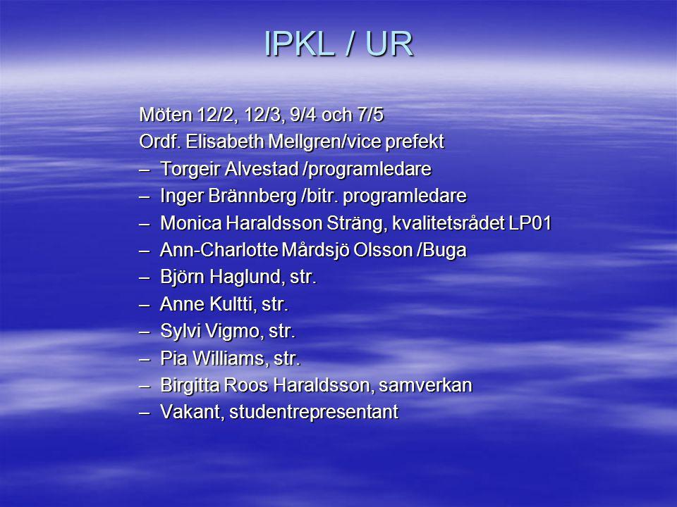 IPKL / Undervisning Fristående kurser 41 hst från UFS (inkl.
