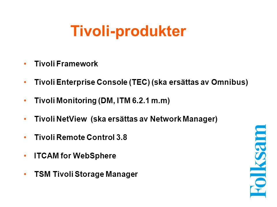 Tivoli Framework Tivoli Enterprise Console (TEC) (ska ersättas av Omnibus) Tivoli Monitoring (DM, ITM 6.2.1 m.m) Tivoli NetView (ska ersättas av Netwo