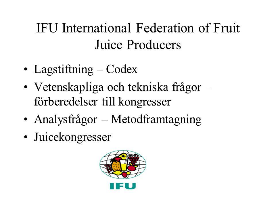 IFU International Federation of Fruit Juice Producers Lagstiftning – Codex Vetenskapliga och tekniska frågor – förberedelser till kongresser Analysfrågor – Metodframtagning Juicekongresser