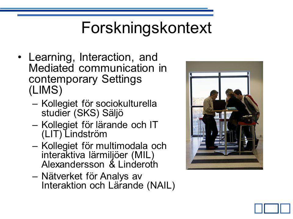 Forskningskontext Learning, Interaction, and Mediated communication in contemporary Settings (LIMS) –Kollegiet för sociokulturella studier (SKS) Säljö –Kollegiet för lärande och IT (LIT) Lindström –Kollegiet för multimodala och interaktiva lärmiljöer (MIL) Alexandersson & Linderoth –Nätverket för Analys av Interaktion och Lärande (NAIL)
