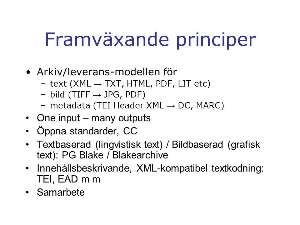 Framväxande principer Arkiv/leverans-modellen för –text (XML → TXT, HTML, PDF, LIT etc) –bild (TIFF → JPG, PDF) –metadata (TEI Header XML → DC, MARC) One input – many outputs Öppna standarder, CC Textbaserad (lingvistisk text) / Bildbaserad (grafisk text): PG Blake / Blakearchive Innehållsbeskrivande, XML-kompatibel textkodning: TEI, EAD m m Samarbete