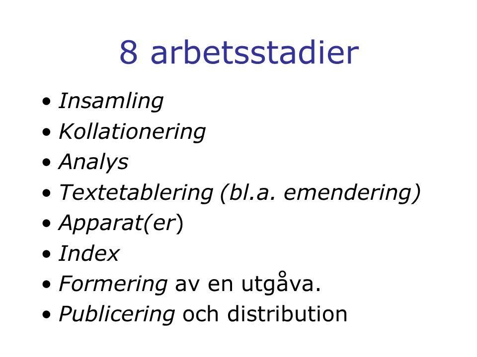 8 arbetsstadier Insamling Kollationering Analys Textetablering (bl.a.