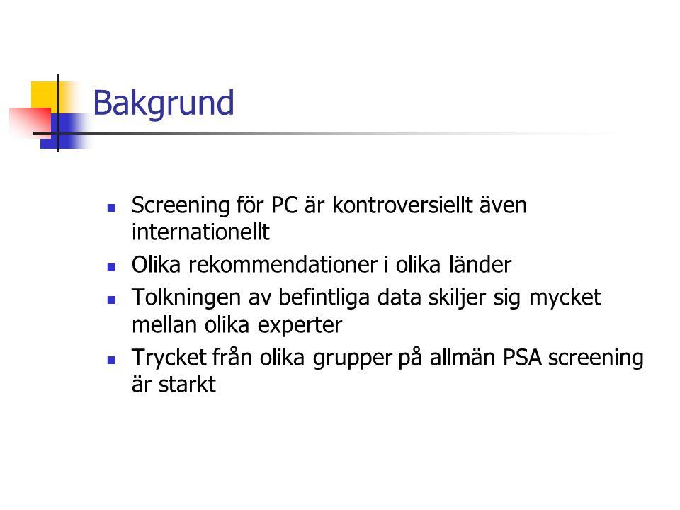 Bakgrund Screening för PC är kontroversiellt även internationellt Olika rekommendationer i olika länder Tolkningen av befintliga data skiljer sig myck