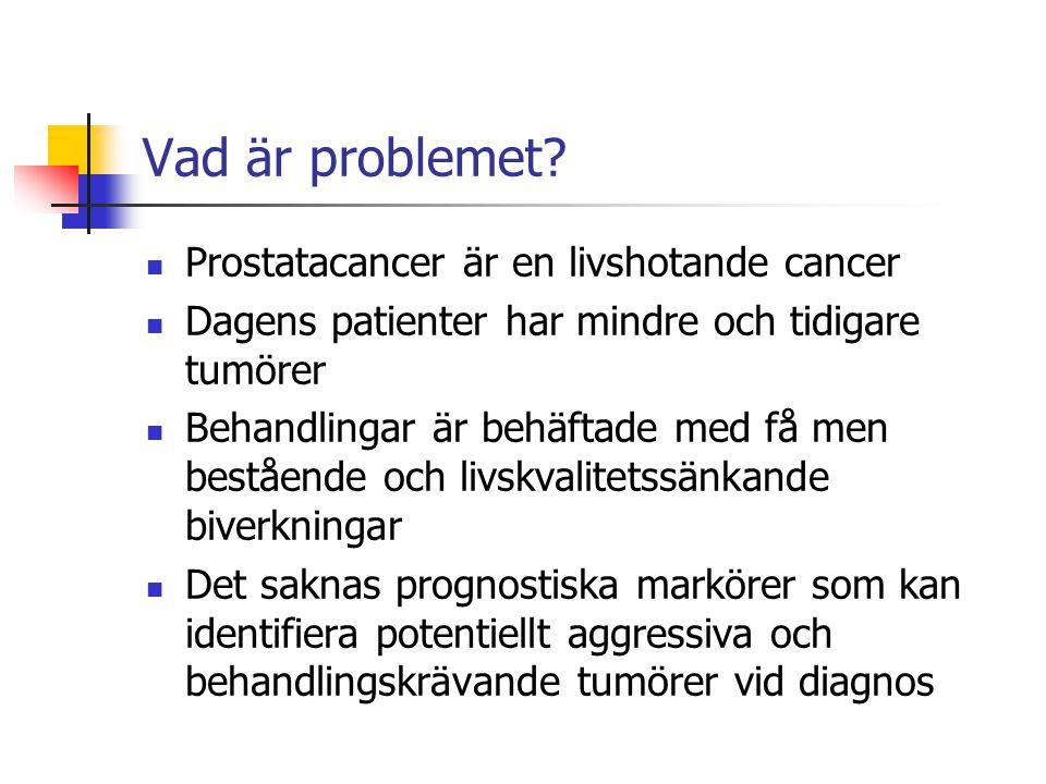 Vad är problemet? Prostatacancer är en livshotande cancer Dagens patienter har mindre och tidigare tumörer Behandlingar är behäftade med få men beståe