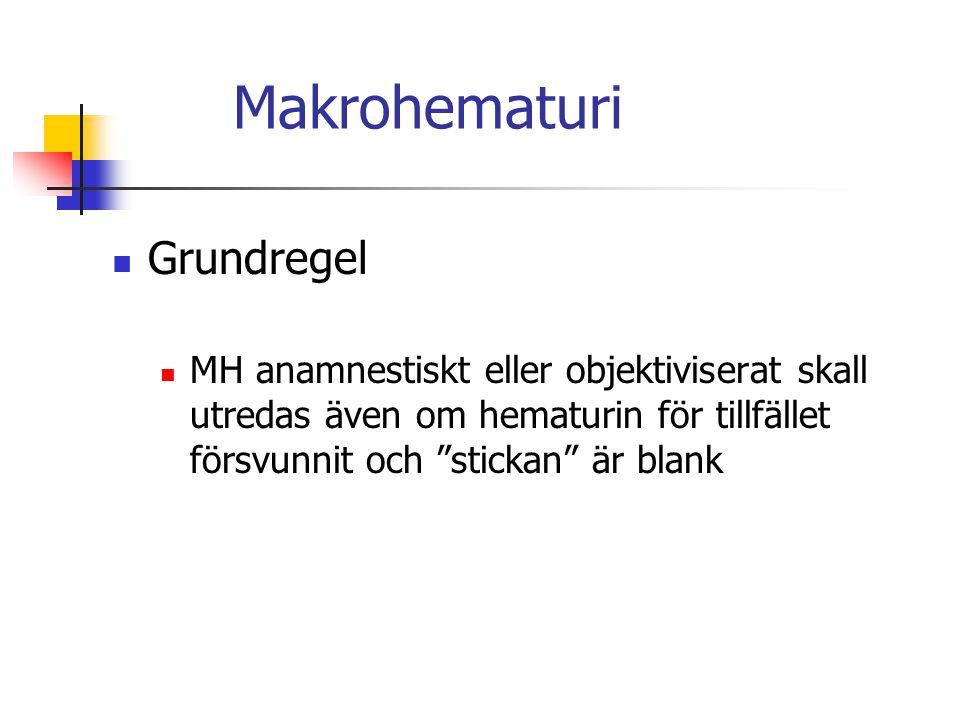 """Grundregel MH anamnestiskt eller objektiviserat skall utredas även om hematurin för tillfället försvunnit och """"stickan"""" är blank"""