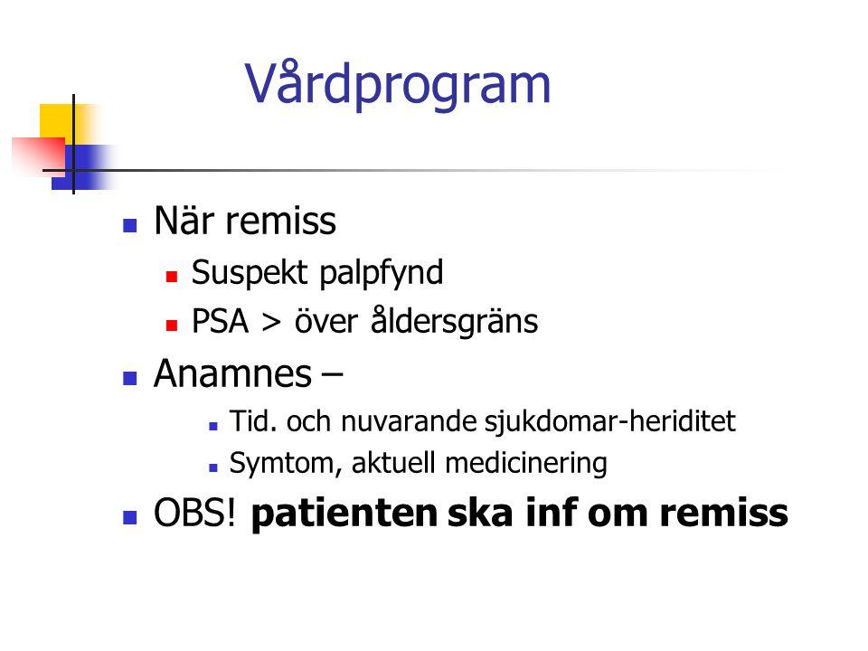 Vårdprogram När remiss Suspekt palpfynd PSA > över åldersgräns Anamnes – Tid. och nuvarande sjukdomar-heriditet Symtom, aktuell medicinering OBS! pati