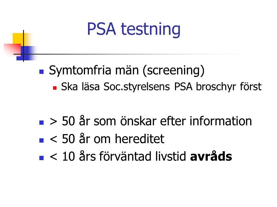 PSA testning Symtomfria män (screening) Ska läsa Soc.styrelsens PSA broschyr först > 50 år som önskar efter information < 50 år om hereditet < 10 års