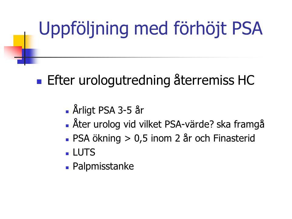 Uppföljning med förhöjt PSA Efter urologutredning återremiss HC Årligt PSA 3-5 år Åter urolog vid vilket PSA-värde? ska framgå PSA ökning > 0,5 inom 2