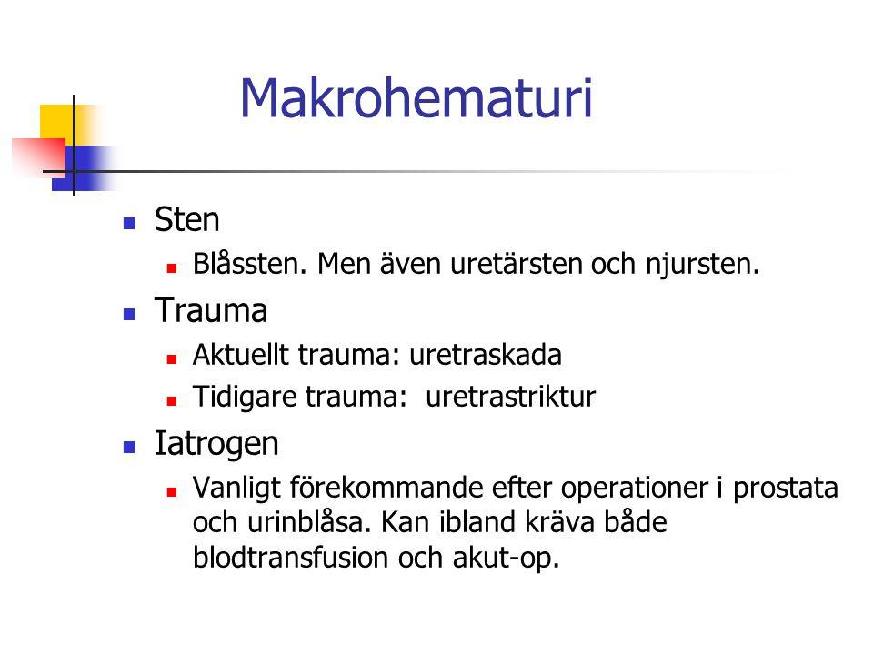 Makrohematuri Sten Blåssten. Men även uretärsten och njursten. Trauma Aktuellt trauma: uretraskada Tidigare trauma: uretrastriktur Iatrogen Vanligt fö