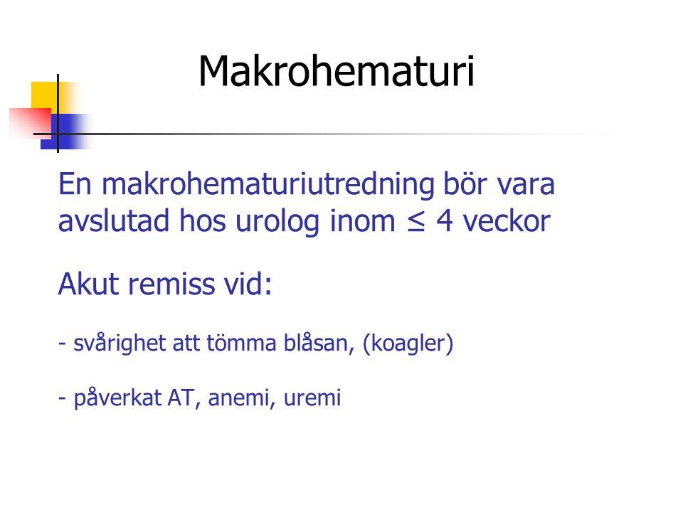 En makrohematuriutredning bör vara avslutad hos urolog inom ≤ 4 veckor Akut remiss vid: - svårighet att tömma blåsan, (koagler) - påverkat AT, anemi,