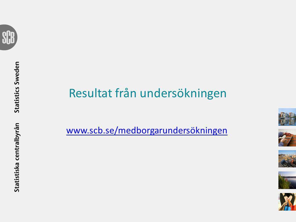 Resultat från undersökningen www.scb.se/medborgarundersökningen