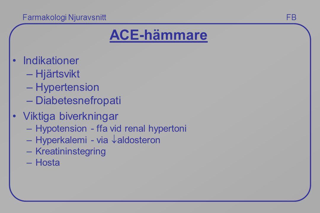 Farmakologi Njuravsnitt FB ACE-hämmare Indikationer –Hjärtsvikt –Hypertension –Diabetesnefropati Viktiga biverkningar –Hypotension - ffa vid renal hyp