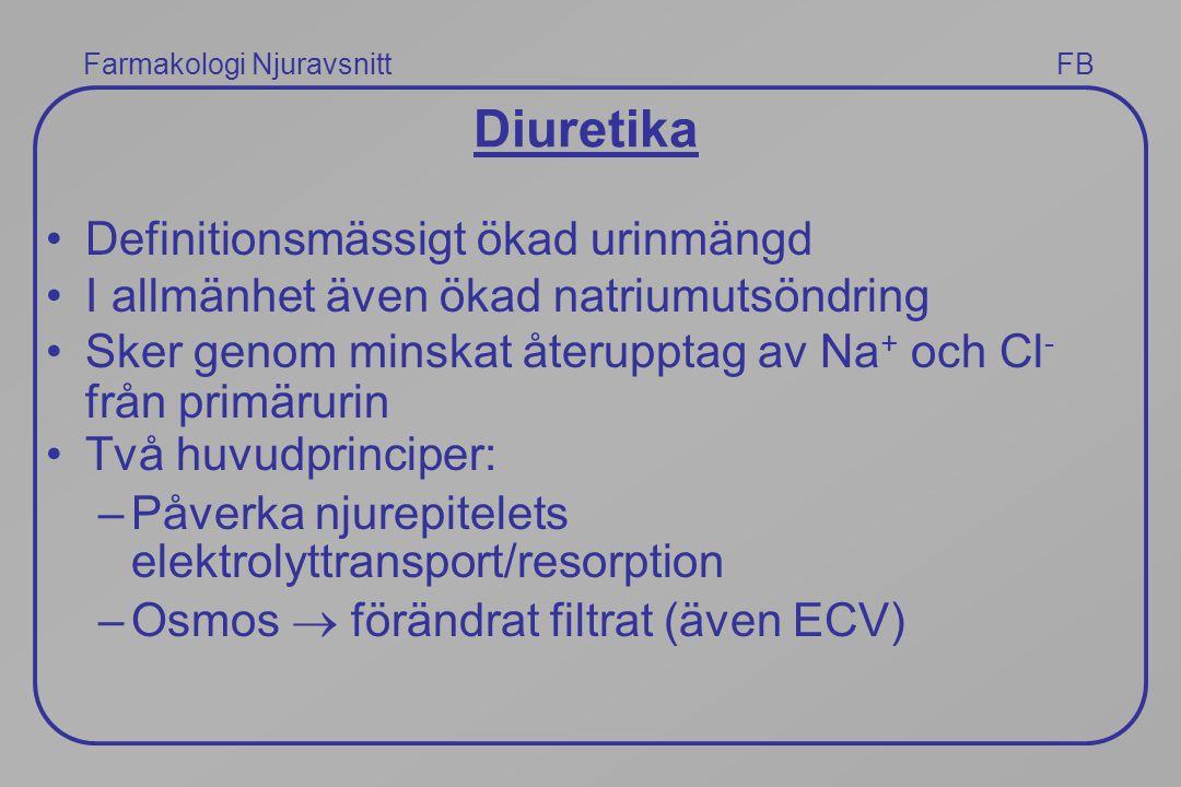 Diuretika Definitionsmässigt ökad urinmängd I allmänhet även ökad natriumutsöndring Sker genom minskat återupptag av Na + och Cl - från primärurin Två