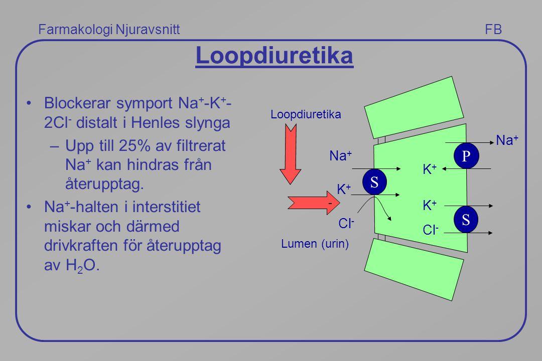 Farmakologi Njuravsnitt FB Loopdiuretika Blockerar symport Na + -K + - 2Cl - distalt i Henles slynga –Upp till 25% av filtrerat Na + kan hindras från